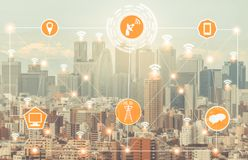 Smart city and wireless communication network. Smart city wireless communication network with graphic showing concept of internet of things ( IOT ) and stock photography