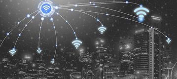 Smart city and wireless communication network. Smart city wireless communication network with graphic showing concept of internet of things (IOT) and information stock photography