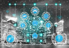 Smart city and wireless communication network. Smart city wireless communication network with graphic showing concept of internet of things ( IOT ) and royalty free stock photos