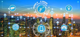 Smart city and wireless communication network. Smart city wireless communication network with graphic showing concept of internet of things ( IOT ) and royalty free stock image