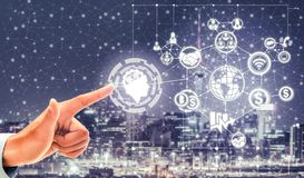 Smart city and wireless communication network. Smart city wireless communication network with graphic showing concept of internet of things (IOT) and information stock image