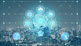 Smart city and wireless communication network. Smart city wireless communication network with graphic showing concept of internet of things ( IOT ) and royalty free stock images