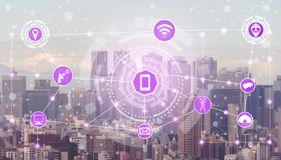 Smart city and wireless communication network. Smart city wireless communication network with graphic showing concept of internet of things (IOT) and information stock photo
