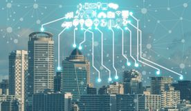 Smart city and wireless communication network. Smart city wireless communication network with graphic showing concept of internet of things ( IOT ) and royalty free stock photography
