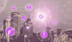 Smart city and wireless communication network. Smart city wireless communication network with graphic showing concept of internet of things ( IOT ) and royalty free stock photo