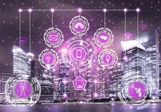 Smart city and wireless communication network. Smart city wireless communication network with graphic showing concept of internet of things (IOT) and information royalty free stock images