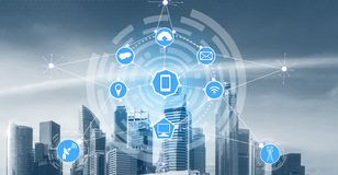 Smart city and wireless communication network stock photo