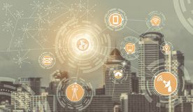 Smart city and wireless communication network. Smart city wireless communication network with graphic showing concept of internet of things  IOT  and information stock photography