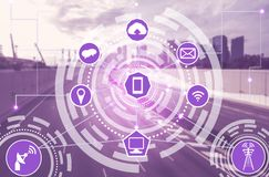 Smart city and wireless communication network. Smart city wireless communication network with graphic showing concept of internet of things  IOT  and information royalty free stock image