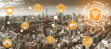 Smart city and wireless communication network. Smart city wireless communication network with graphic showing concept of internet of things  IOT  and information royalty free stock photos