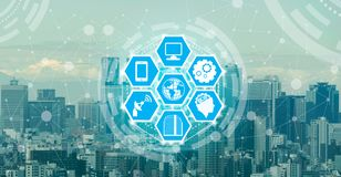 Smart city and wireless communication network. Smart city wireless communication network with graphic showing concept of internet of things IOT and information stock images