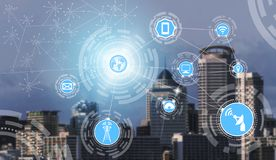 Smart city and wireless communication network. Smart city wireless communication network with graphic showing concept of internet of things  IOT  and information vector illustration