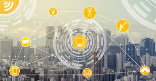 Smart city and wireless communication network. Smart city wireless communication network with graphic showing concept of internet of things  IOT  and information stock illustration