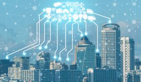 Smart city and wireless communication network. Smart city wireless communication network with graphic showing concept of internet of things IOT and information stock photos
