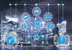 Smart city and wireless communication network. Smart city wireless communication network with graphic showing concept of internet of things  IOT  and information royalty free stock images