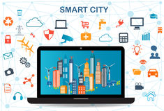 Smart City and wireless communication network. Smart city on laptop with different icon and elements and environmental care.Modern city design with  future Royalty Free Stock Photo