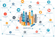 Smart City and wireless communication network Royalty Free Stock Photo