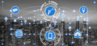 Smart city and wireless communication network. Smart city wireless communication network with graphic showing concept of internet of things ( IOT ) and stock photos