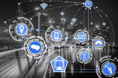 Smart city and wireless communication network. Smart city wireless communication network with graphic showing concept of internet of things ( IOT ) and stock images