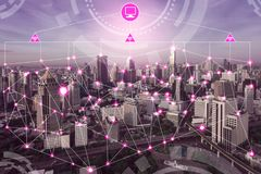 Smart city wireless communication network. Smart city wireless communication network with graphic showing concept of internet of things IOT and information stock illustration