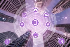Smart city and wireless communication network. Smart city wireless communication network with graphic showing concept of internet of things  IOT  and information royalty free illustration