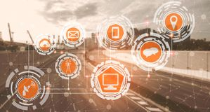 Smart city and wireless communication network. Smart city wireless communication network with graphic showing concept of internet of things  IOT  and information stock image