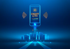 Smart city. Wireless communication with smart phone. Future concept. Vector illustration Stock Photography