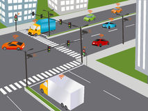 Smart city and Wireless network of vehicle. Communication that connects cars to devices on the road, such as traffic lights, sensors, or Internet gateways Stock Images