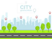 Free Smart City With Pin Navigation. Urban Landscape. Flat Design Vector Stock Photo - 119892160