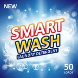 Smart clean soap banner ads design. Laundry detergent fresh clean Template. Washing Powder or Liquid Detergents Package. Design. Vector illustration EPS 10 vector illustration