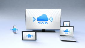 Smart Cloud service function with ubiquitous mobile device concept stock video