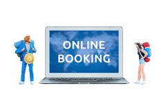 Smart computer laptop show online booking on screen Royalty Free Stock Photos