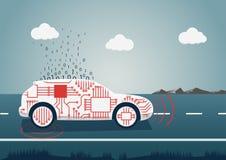 Smart conectó el ejemplo del coche Icono del coche con los sensores y carga por teletratamiento grande de los datos como ejemplo  Fotografía de archivo libre de regalías
