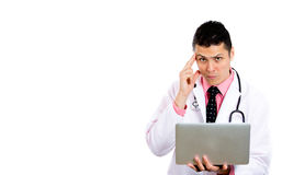 Smart confident health care professional with lap top Stock Photo