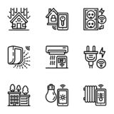 Smart construction icon set, outline style stock illustration