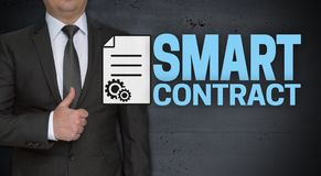 Smart contract concept and businessman with thumbs up.  royalty free stock photography