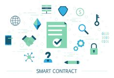 Smart contract concept. Idea of digital agreement and business deal. Online document with signature. Modern technology and electronic progress. Set of colorful stock illustration