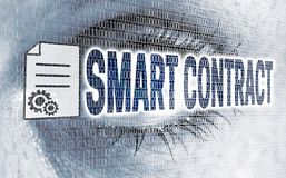 Smart contract eye with matrix looks on viewer concept.  Royalty Free Stock Images