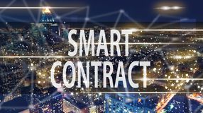 Smart Contract with the New York City skyline. At night Royalty Free Stock Photos