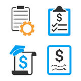 Smart Contract Vector Icon Set. Style is bicolor flat symbols Stock Images