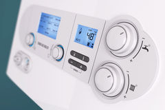 Smart control panel household gas boiler. Closeup 3d Royalty Free Stock Images