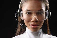 Smart customer service operator working Royalty Free Stock Image