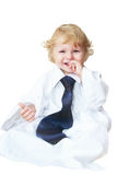 Smart cute baby boy dressed as businessman Stock Image