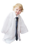 Smart cute baby boy dressed as businessman Stock Photos