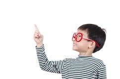 Smart cute boy thinking an idea. On white background Stock Photo