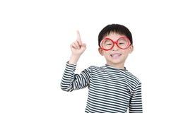 Smart cute boy thinking. On white background Royalty Free Stock Photos