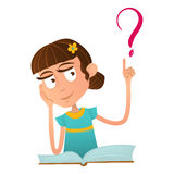 Smart cute girl sitting on a book and holding a finger up Smart cute baby boy sitting on a book and holding a finger up and over i. T a question mark Stock Photo