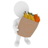 Smart 3D figure with fresh frutis. Smart 3D figure with paper bag Royalty Free Stock Photography