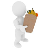 Smart 3D figure was shopping fruits. Smart 3D figure with fruits in a paper bag Royalty Free Stock Images