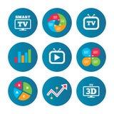 Smart 3D TV mode icon. Retro television symbol. Business pie chart. Growth curve. Presentation buttons. Smart 3D TV mode icon. Widescreen symbol. Retro Stock Image